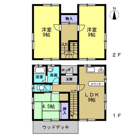 栃木県足利市-中古戸建て-赤い家-間取り
