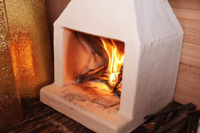 木製キャンピングトレーラーBaske-T 60-暖炉